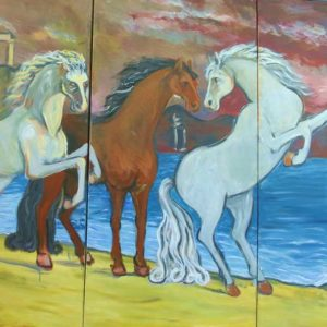 painting horses frolicking, sandra jones artist, hoses frolicking painting