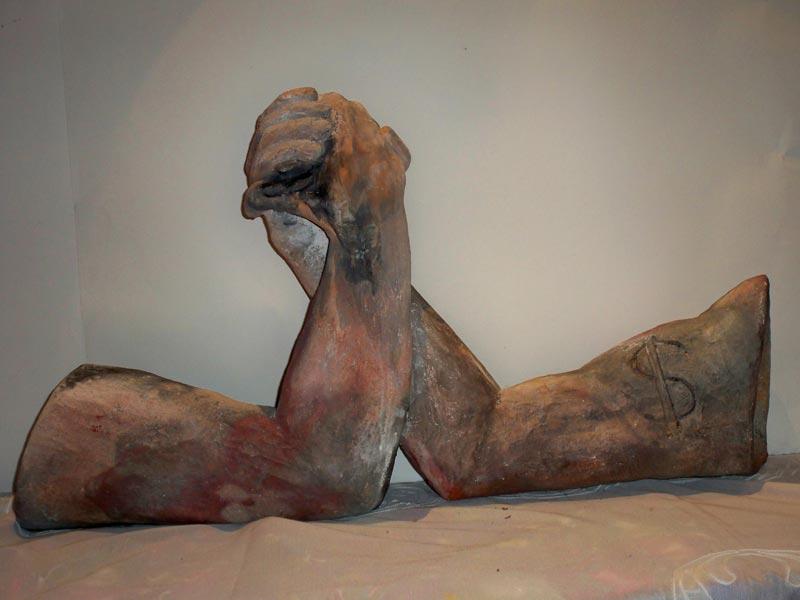 sandra jones arm wrestle sculpture