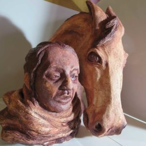 sandra jones horse and rider oxide glazed ceramic sculpture
