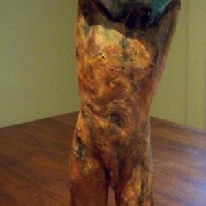 glazed figure undressing, sandra jones sculpture