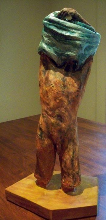 glazed figure undressing, sandra jones sculpture