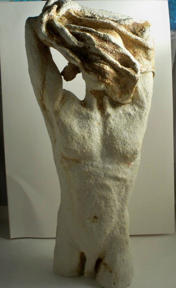 male ceramic figure undressing, sandra jones sculpture