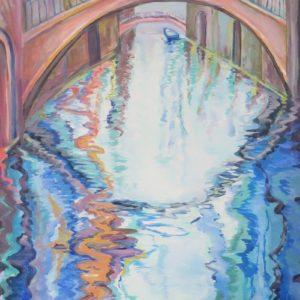 sandra jones artist, venice canal painting