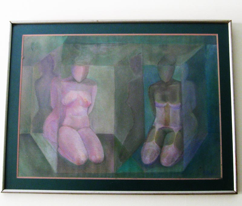 abstract pastel on carboard framed, sandra jones abstract pastel drawing