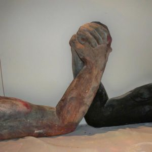 earthenware arm wrestle sculpture by sandra jones