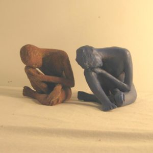 Female Glazed Ceramic contemplating figures, sandra jones sculpture