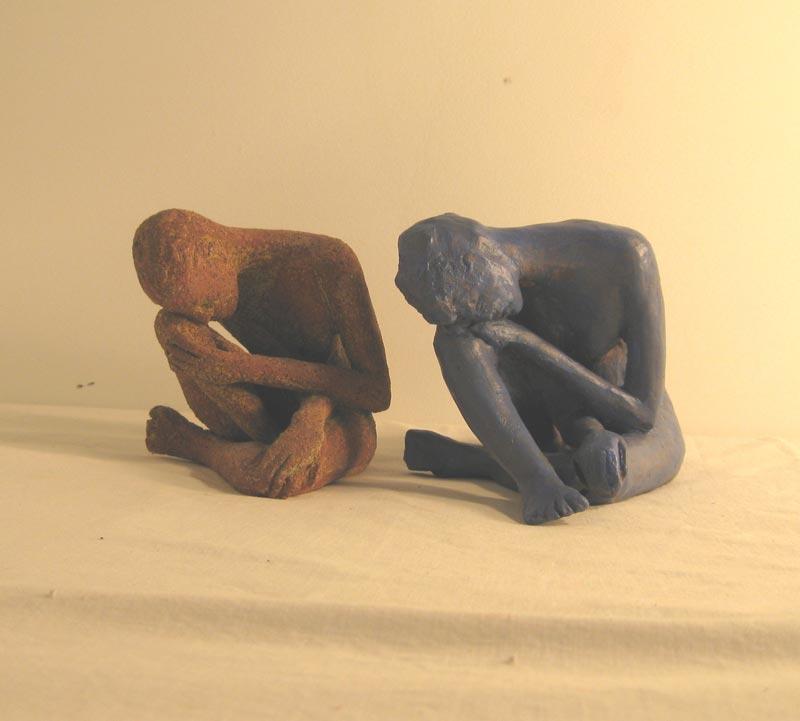 Female Glazed Ceramic contemplating figures, sandra jones sculpture