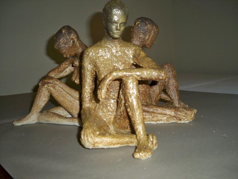 3 ceramic figurines, sandra jones art