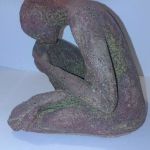 female brown glazed ceramic figure, sandra jones sculpture