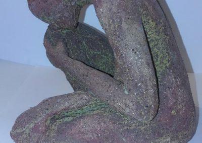 Female Brown Glazed Ceramic Figure