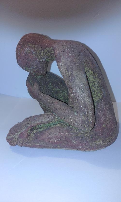 female brown glazed ceramic figure, sandra jones sculpture