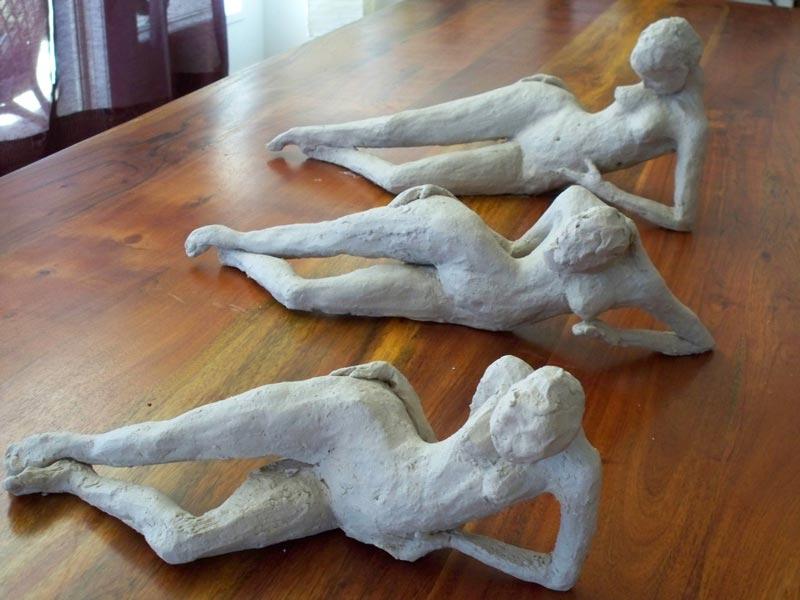 sandra jones sculpture, stoneware figures