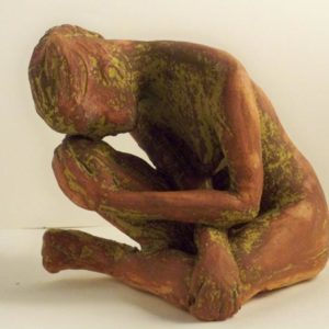 sandra jones sculpture, brown dry glaze fiigurine