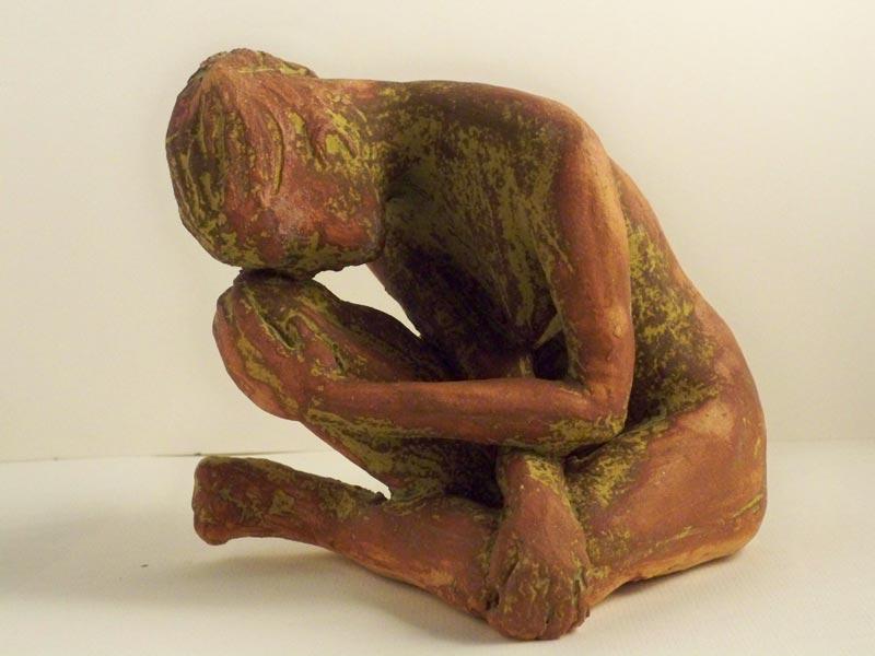 sandra jones sculpture, brown dry glaze fiigurine