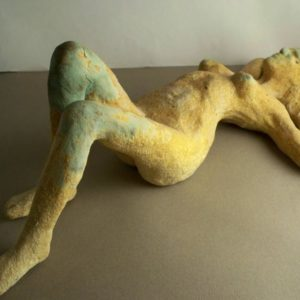 sandra jones sculpture, reclining nude glazed ceramic figure