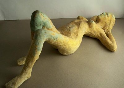 Reclining Nude Glazed Ceramic Figure
