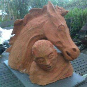 sandra jones horse and rider sculpture