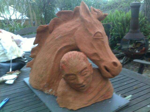 sandra jones horse and rider sculpture