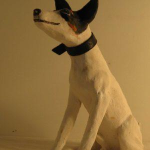 sandra jones animal sculpture, sculptured stoneware terrier