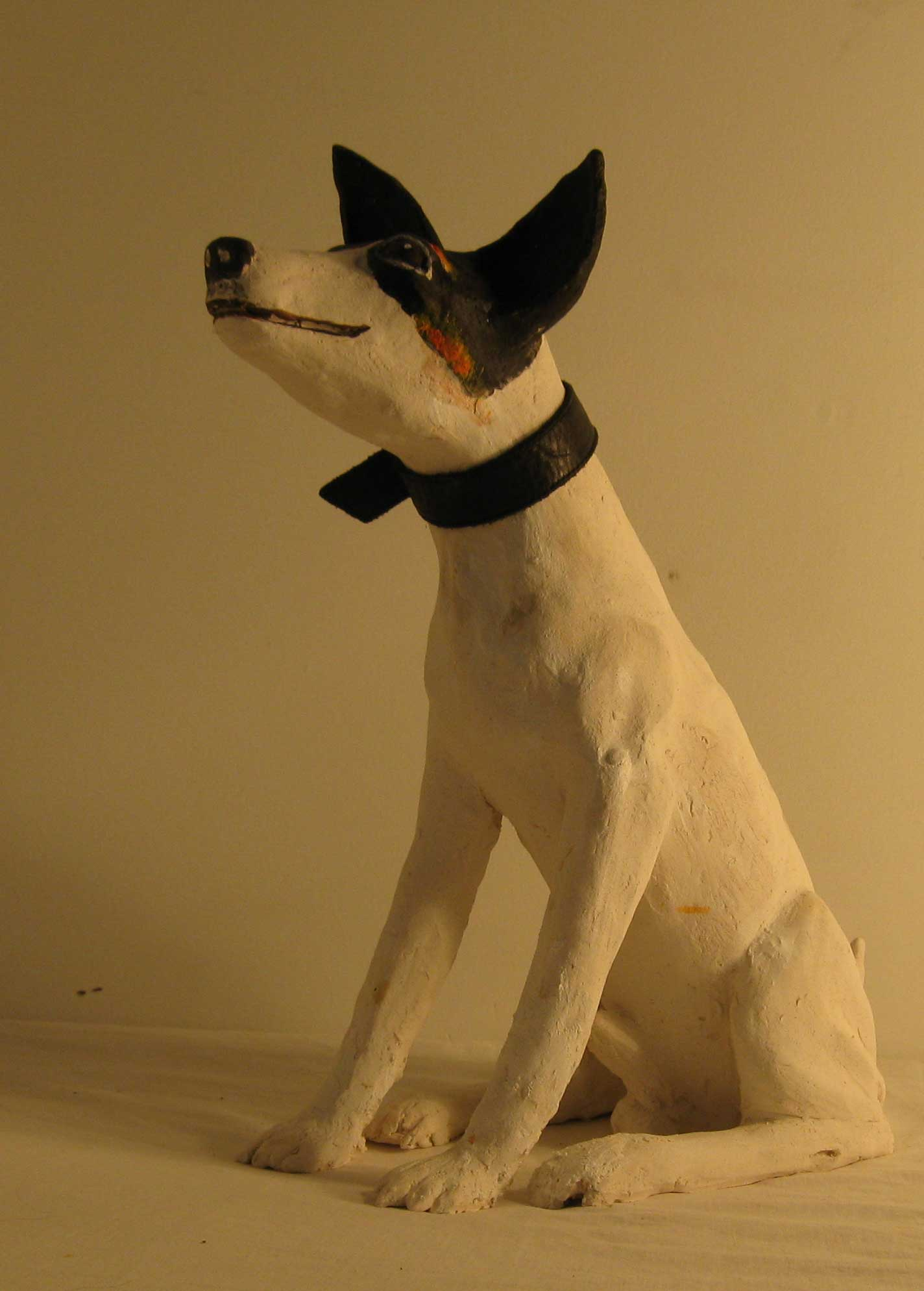 sandra jones animal sculpture, sculptured stoneware terrier