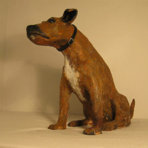 commissioned puppy sculpture, sandra jones sculptured staffie dog