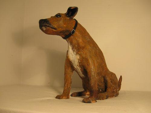 commissioned puppy sculpture, sandra jones sculptured staffie dog