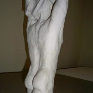 Male stoneware figure undressing, sandra jones sculpture