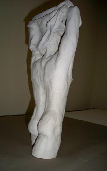 Male stoneware figure undressing, sandra jones sculpture